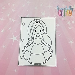 Princess 3 quiet book coloring page ITH embroidery design 5x7 hoop